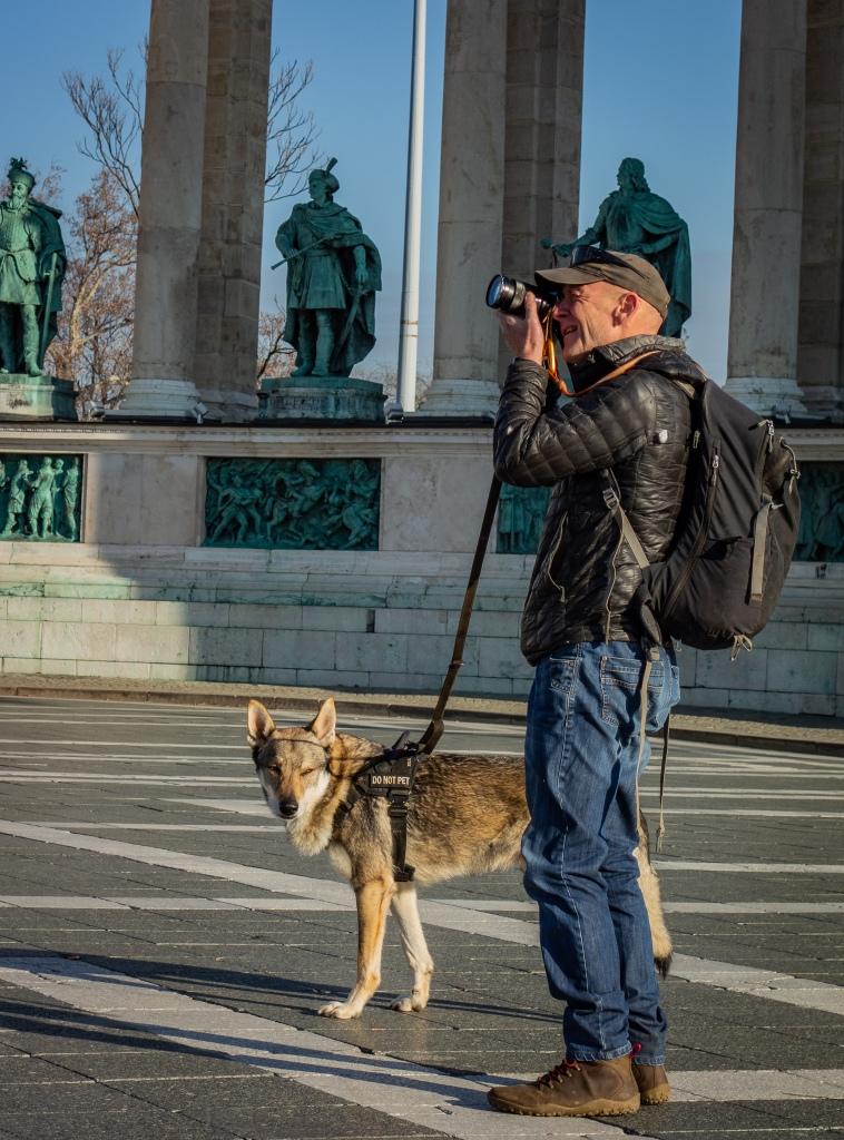 Cal and Argo the wolfdog