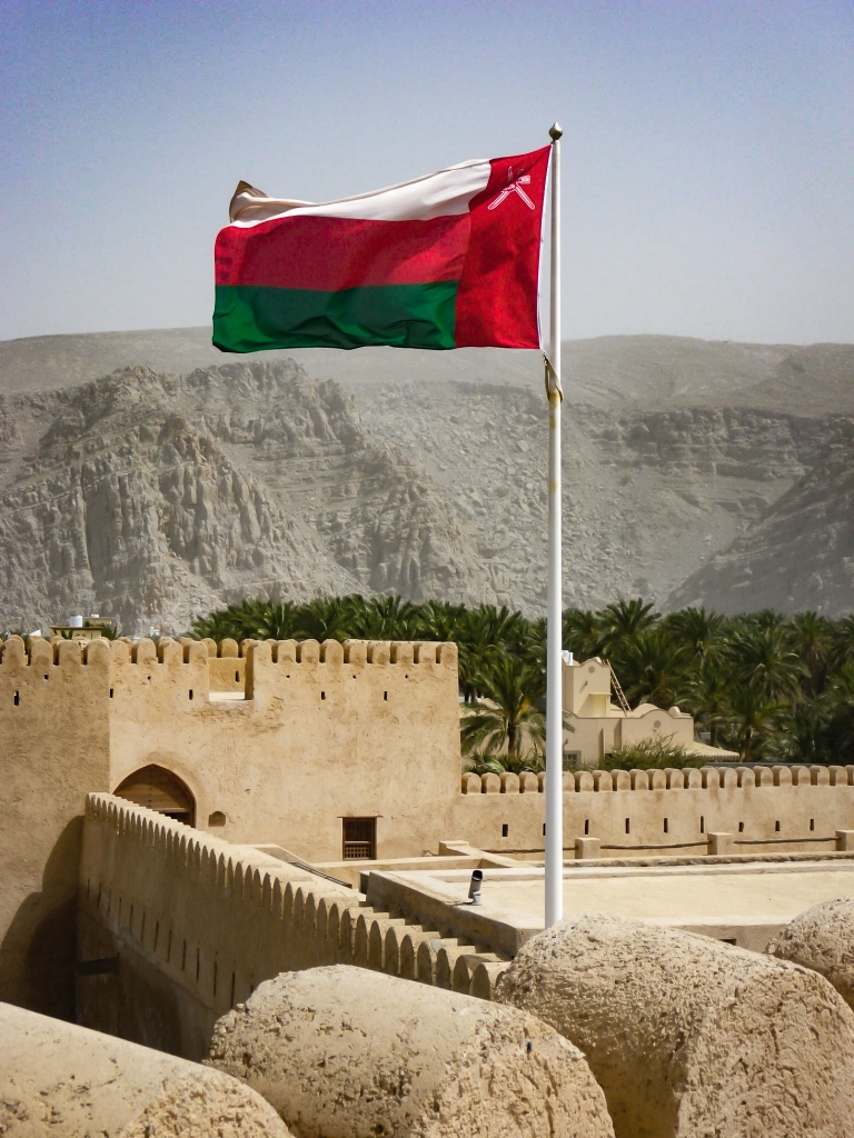 Omani flag flying over Fort Khasab